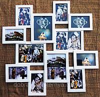 Деревянная эко мультирамка, коллаж  № 212 белый, венге, орех, чёрный.