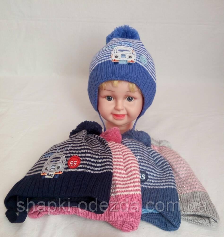 детская вязаная шапка для девочки на флисе р42 44 оптом продажа