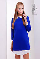 Модное платье Амели из трикотажа с рубашечным воротником