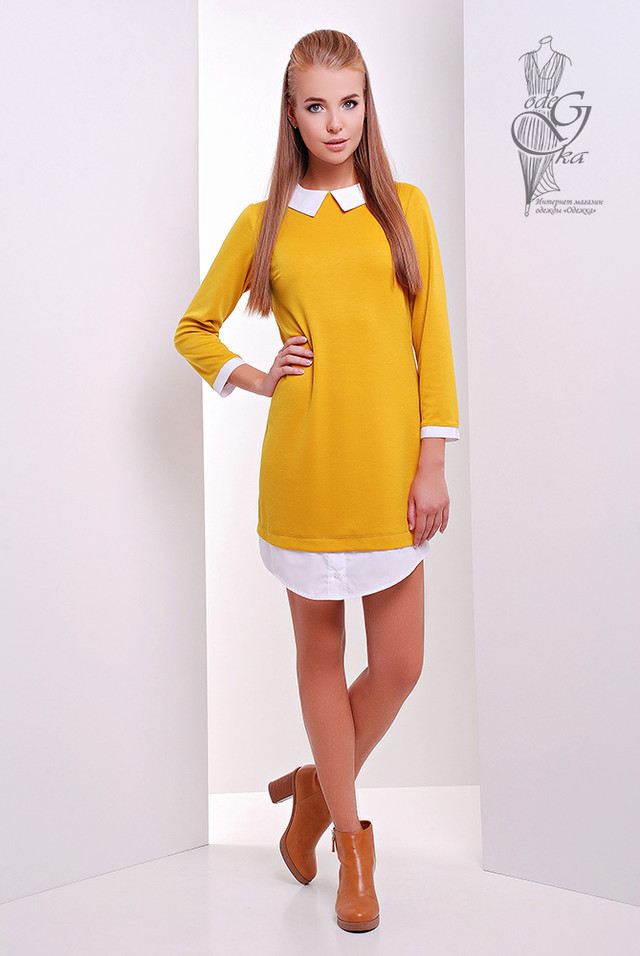 Цвет Горчица Модного платья Амели