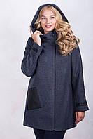 Женское зимнее пальто с капюшоном синего цвета