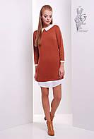 Модное платье Амели-2 из трикотажа с рубашечным воротником