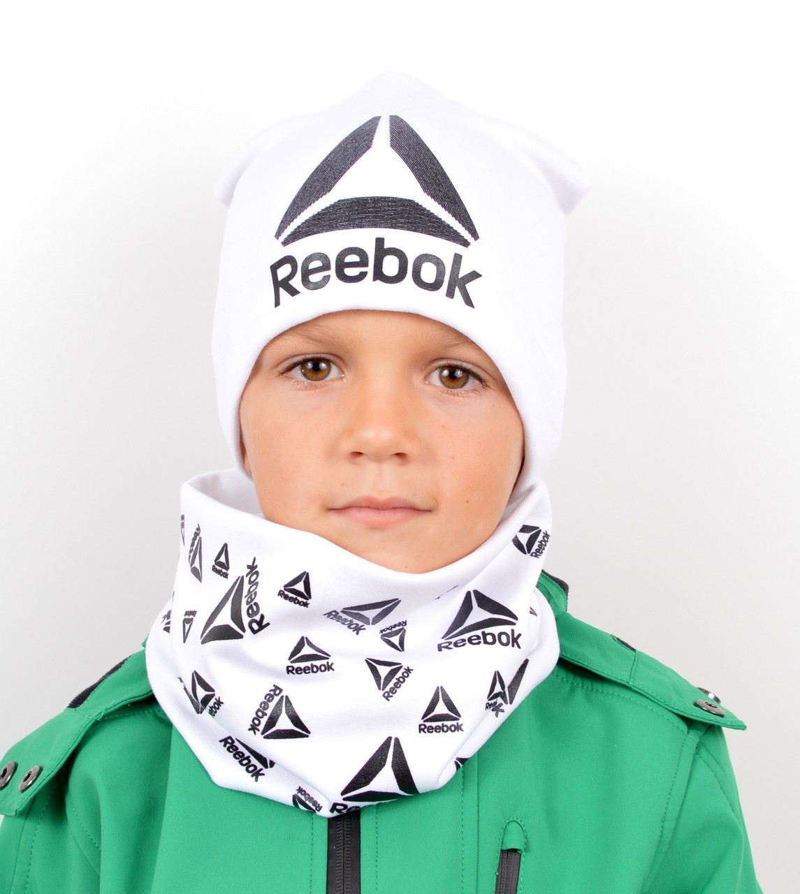 Трикотажный комплект Reebok шапка+хомут, фото 1