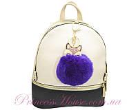 Брелок Лиса со стразами на помпоне из натурального меха фиолетовый (000719)