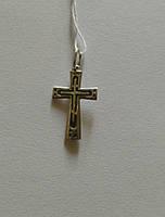 Крест из серебра родированный православный 7070