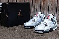 Мужские кроссовки Nike Air Jordan 4 (Найк Аир Джордан) черно-белые