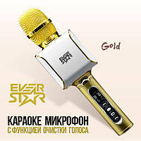 Караоке Микрофон с очисткой песен от голоса! EverStar i8 (Золотой) Беспроводной / Bluetooth+FM (GOLD)