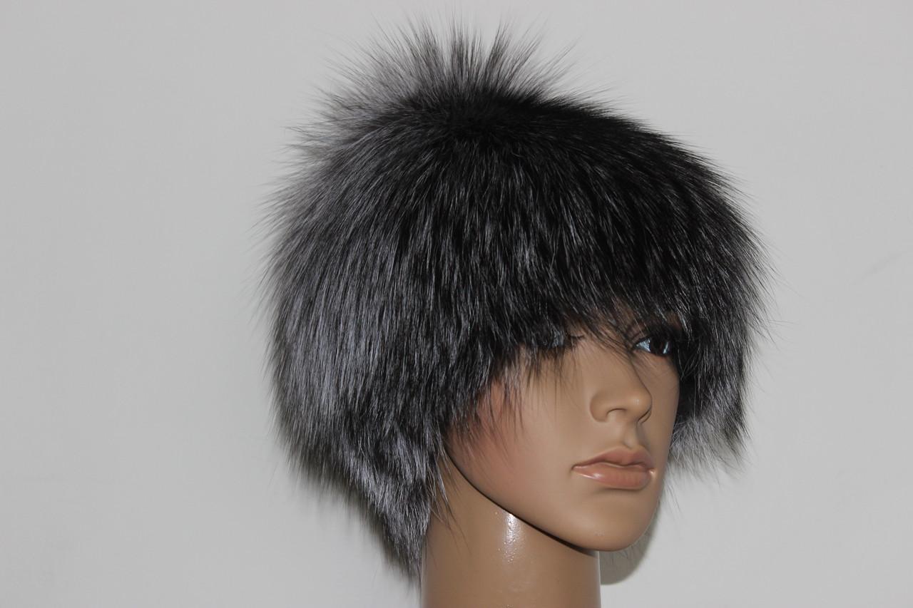 Меховая шапка из чернобурой лисы