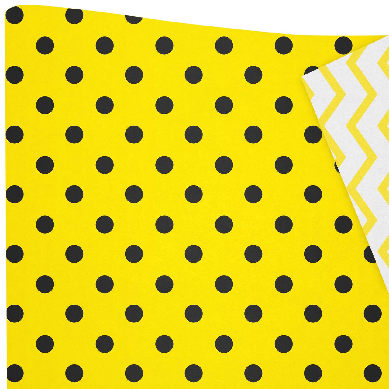 Бумага двухсторонняя /ретро/  Горошки черные на желтом