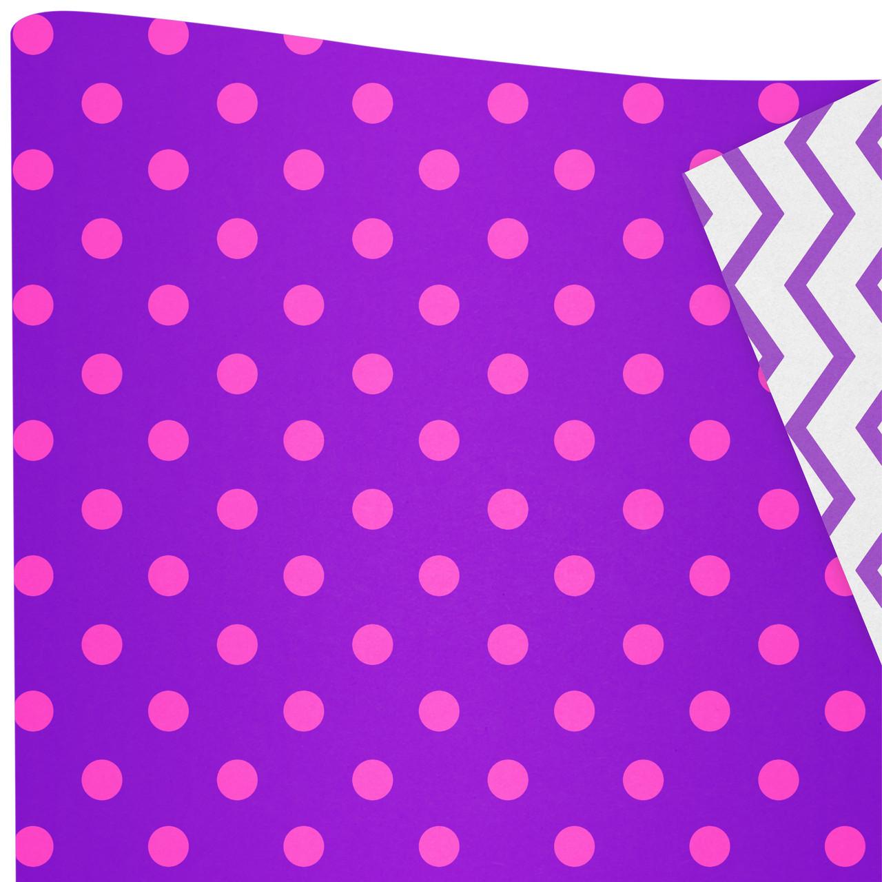 Бумага двухсторонняя /ретро/ Горошки розовые на фиолетовом