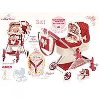 Коляска для кукол 3в1 с сумкой Martina DeCuevas 80715. Ручка 81 см