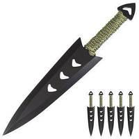 Очень удобныйнабор ножей метательных 6шт. в чехле. Хорошо сбалансирован. Подходит для новичка.