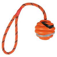 Мяч тренировочный для собак на веревке с ручкой Trixie ребристый 6/3осм