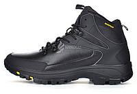 Ботинки мужские зимние кожаные waterproof черные Big man большие размеры, Черный, 46