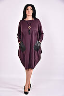 Женское платье туника из трикотажа 0594 (3 цвета) (42-74)