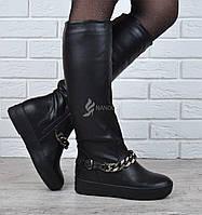 Сапоги женские зимние кожаные на платформе Prima d'Arte высокие черные с цепью, Черный, 41