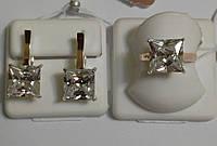 Серебряный комплект с золотом и белым цирконием Ника