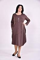 Женское платье туника из трикотажа 0582 (3 цвета) (42-74)