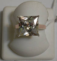 Кольцо из серебра с золотом и белым камнем Ника