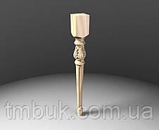 Ножка резная для стола из дерева. Круглая с квадратным основанием, листами и канелюрами. 730 мм, фото 2