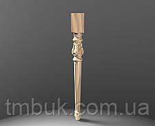Ножка резная для стола из дерева. Круглая с квадратным основанием, листами и канелюрами. 730 мм, фото 3