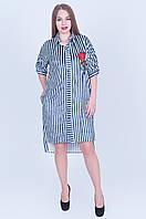 Нарядное велюровое платье-рубашка в полоску  темно синего цвета размеры  (52 54 56 58) код 588, фото 1