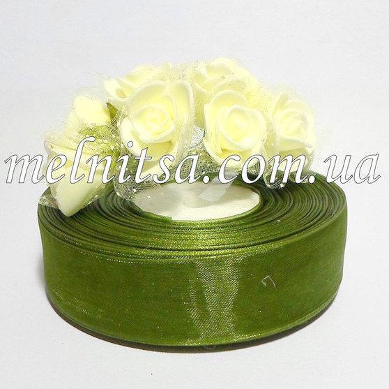 Лента из органзы, 2,5 см, цвет зеленый № 108