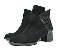 Шикарные черные осенние женские замшевые ботинки ARI ANDANO на толстом каблуке ( новинки весна-осень )