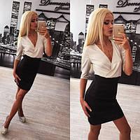 Деловое черно-белое платье с запахом Cheslava r-91PL