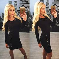 Черное платье мини с заклепками g-245PL