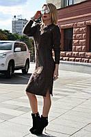 Вязаная женское платье туника Кира, шоколад, фото 1