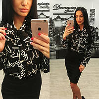 Женская черная блуза с принтом b-327BL