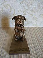 Подставка для телефона (смартфона) собачка бульдог бронза