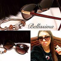 Женские коричневые стильные солнцезащитные очки u-541JA