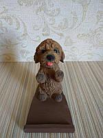 Подставка для телефона (смартфона) собачка коричневый пудель