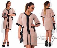 Красивое и эффектное платье в больших размерах с широким рукавом (4 цвета) c-597BR