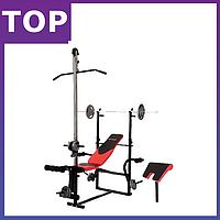 Скамья тренировочная Hop-Sport HS-1070 + верхняя тяга  для дома и спортзала