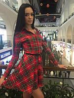 Клетчатое эффектное платье-рубашка i-764PL