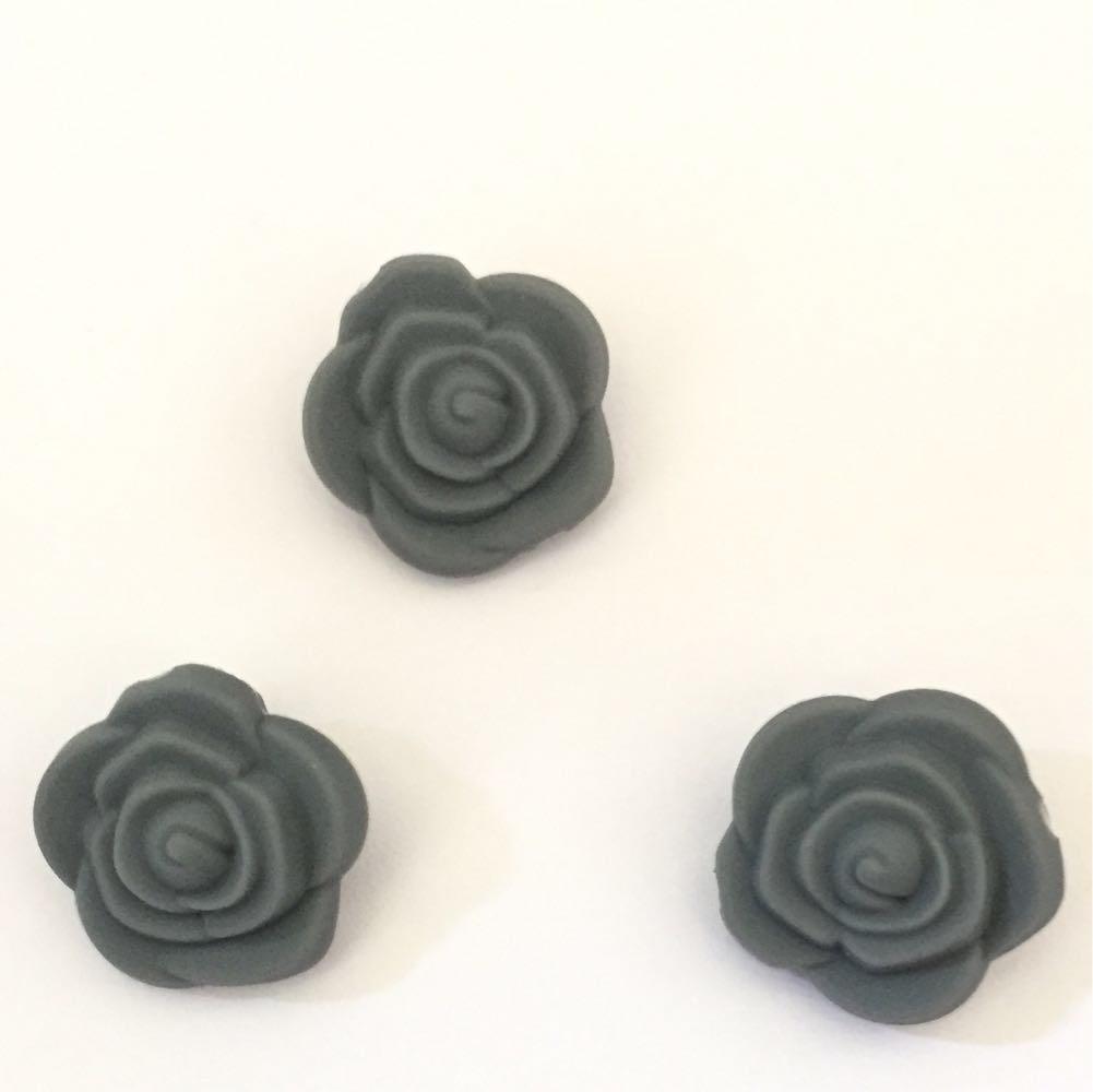 Розочка маленькая (темно-серая) бусина из силикона