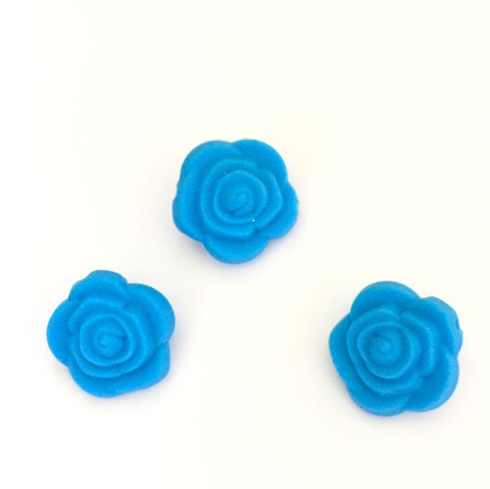 Розочка маленькая (голубой) бусина из силикона