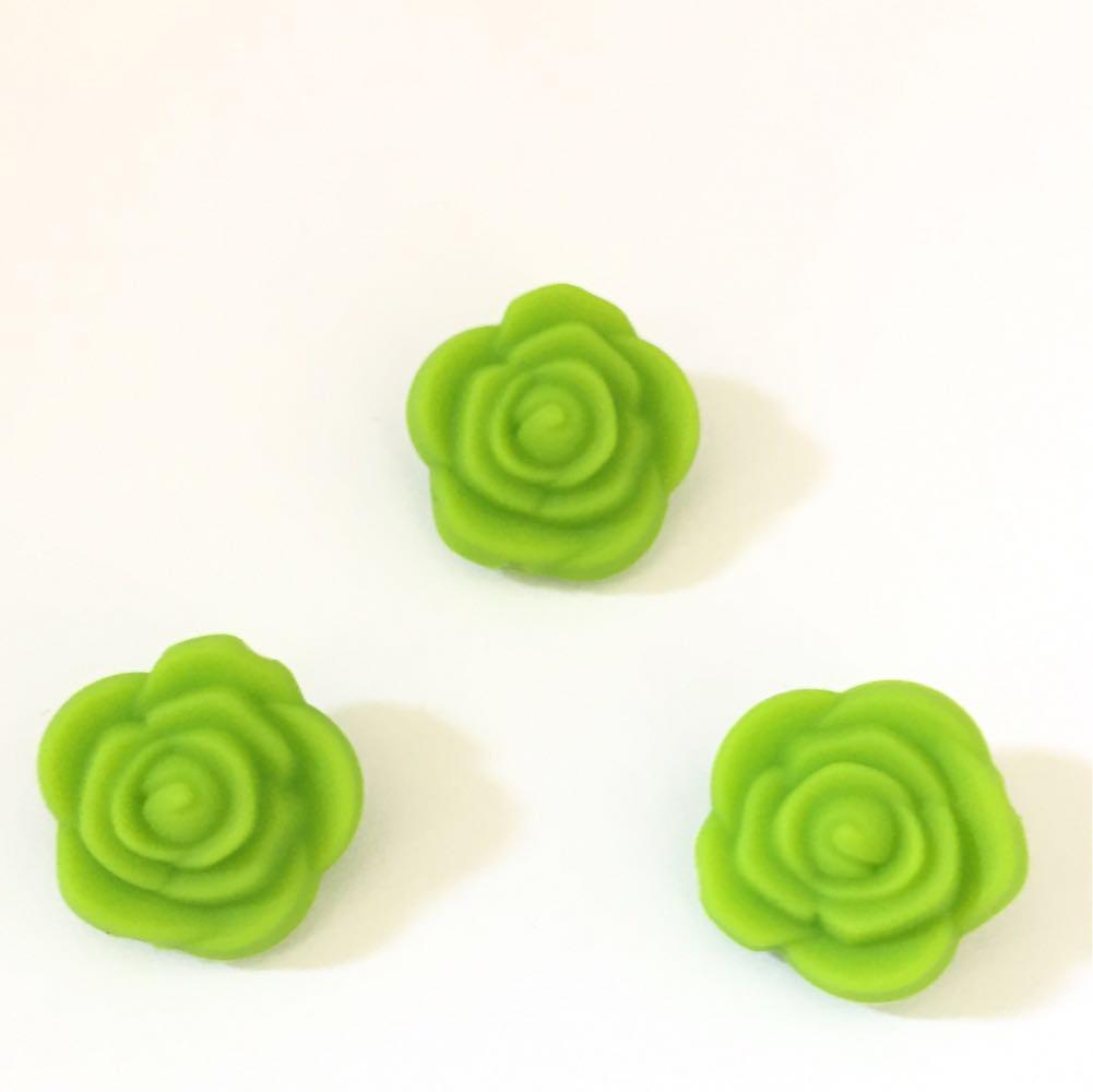 Розочка маленькая (зеленый) бусина из силикона