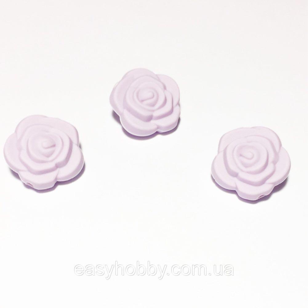 Маленька трояндочка (лаванда) намистина з силікону