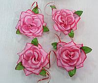 Цветы на ручки свадебного авто (ярко-розовая роза) 4 шт.