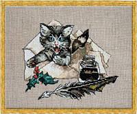 """Набор для вышивания крестом 115 KA(Aida) """"Смотри - у меня кошка!"""" (Chat va) NIMUЁ"""