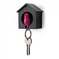 Ключница настенная и брелок для ключей Sparrow Qualy (черный-розовый)