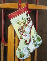 70-08853 Набор для вышивания крестом DIMENSIONS Снеговики на санях. Чулок