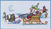 """Набор для вышивания крестом 70-08864 """"Снежный медведь и сани"""" DIMENSIONS"""