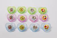 Пустышка силиконовая круглая (от 0 до 6 мес) Lindo Premium А 31  цвет зеленый цветы