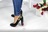 Только 36, 38 размер! Красивые женские чёрные туфли экокожа с вышивкой тренд 2017