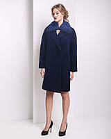 Зимнее пальто с мехом чернобурки из итальянской шерсти u-2369JP